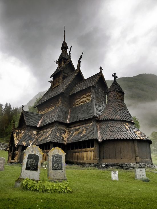 12th century wooden church  borgund, sogn og fjordane, norway.