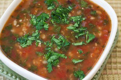 My Dad loved this black bean soup with tomatillos, lime, and cilantro!