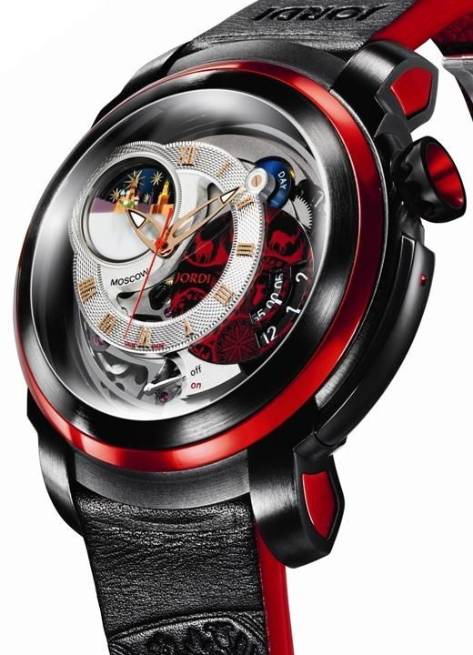 Man's accessories watch black red. great contrast.