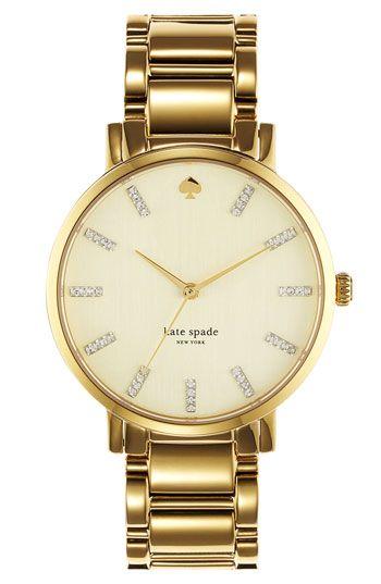 kate spade new york 'gramercy' round bracelet watch