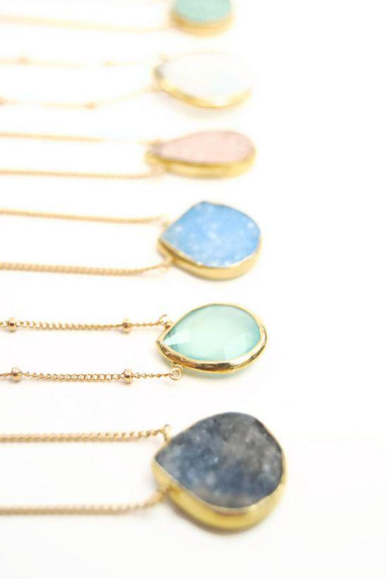 Alohanani necklace - aqua chalcedony gold necklace, bridesmaid gift, jewelry, maui, hawaii, www.kealohajewelr...