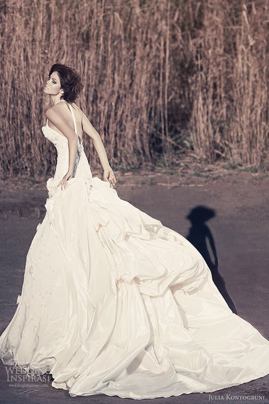 Ball gown with T-back straps.  Julia Kontogruni