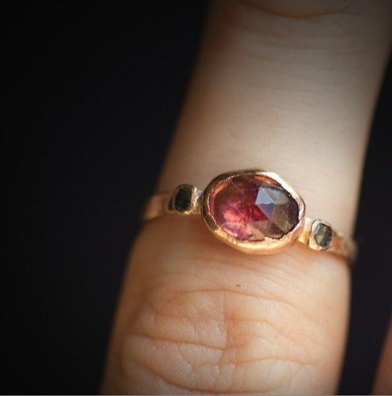 pink tourmaline & rose cut blue diamonds ( rose gold band)