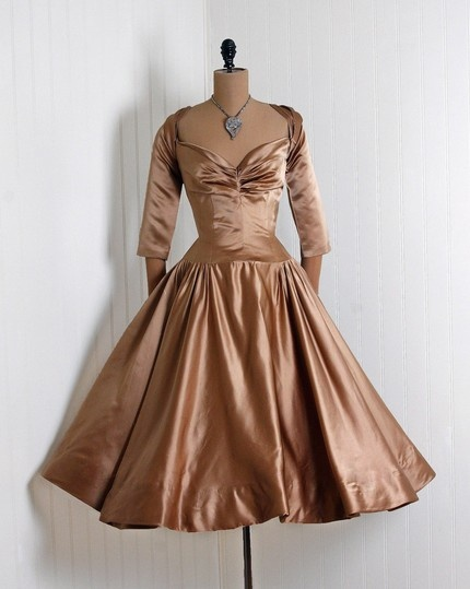 1950's Harlow Mocha Satin dress