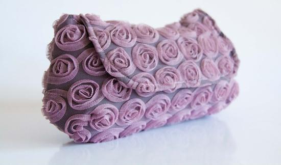 Antique Pink Clutch Bag with Ruffled Roses. €49.00, via Etsy.