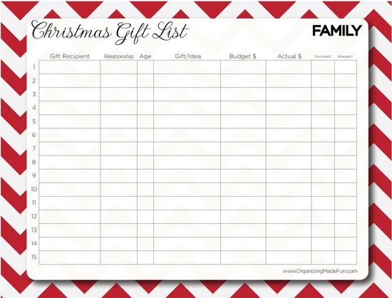 Free Christmas Gift List printable