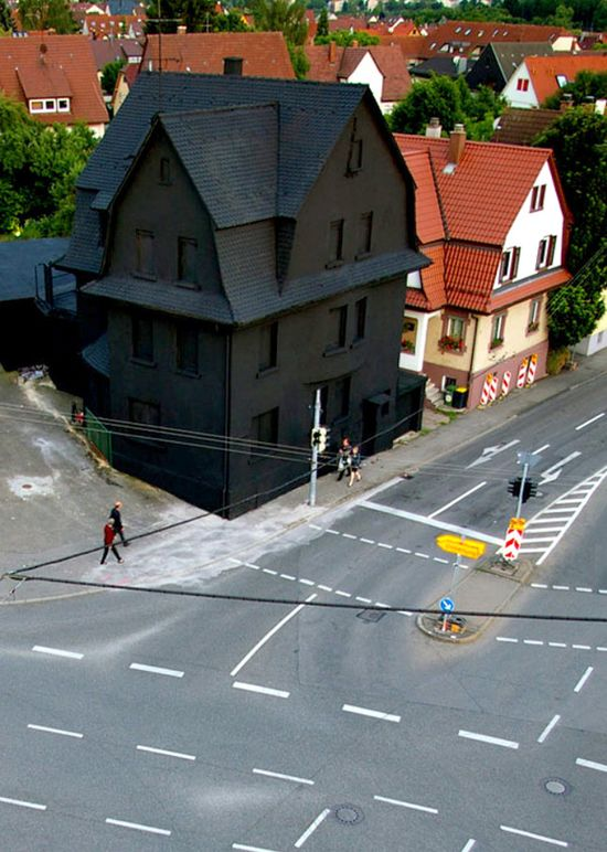 A Monochromatic Farewell to a Condemned House in Germany street art installation Germany