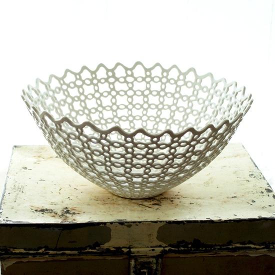 Carved Porcelain Fruit Bowl. $4,200.00, via Etsy.