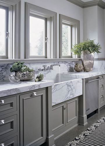 classic marble + gray cabinets