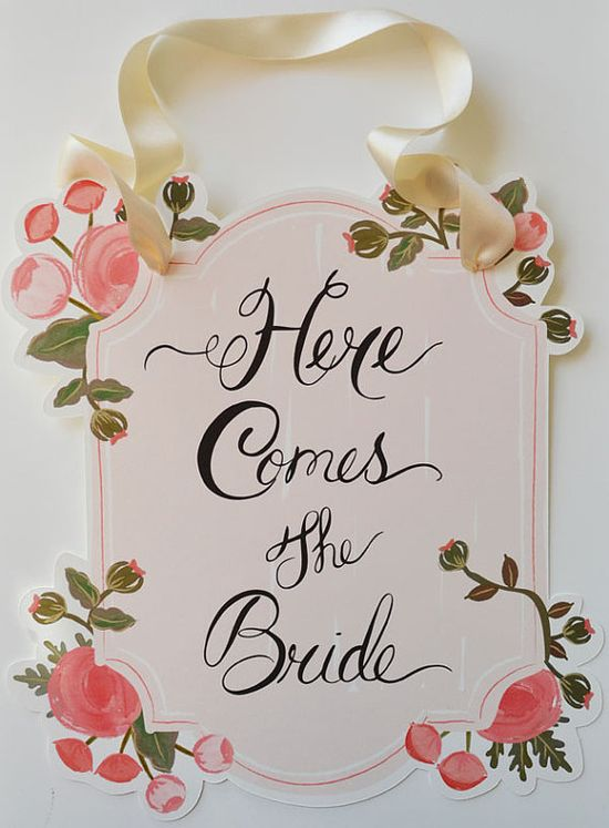 From one of our favorite Etsy designers First Snow Fall - Here Comes the Bride Sign www.etsy.com/...