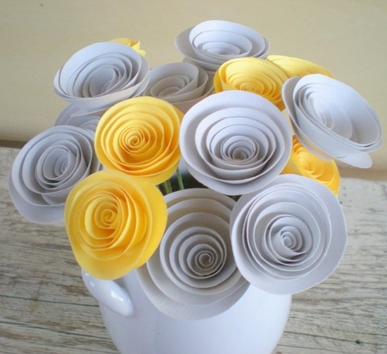 Yellow and grey paper flowers