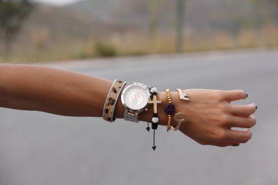 Macrame Cross Bracelet & beaded peace sign bracelet