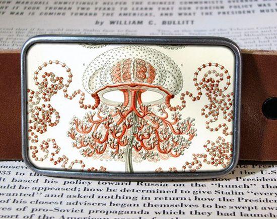 jellyfish belt buckle ocean buckle vintage inspired by reganflegan, $19.00
