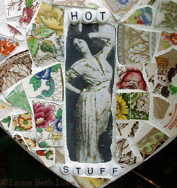 Broken china mosaic heart by Dishfunctional Designs