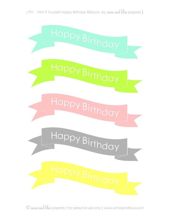 aqua, limon, coral and gray Happy Birthday Cake Banners - printable