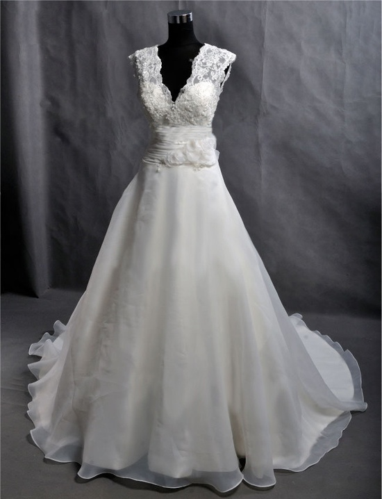 Custom Make Vintage Lace Organza Wedding Dress Bridal Gown Deep V Neck Prom Ball Gown with Train Buttons Flower Sash Plus Size Wedding Dress. $255.00, via Etsy. OMG!!!!!!!