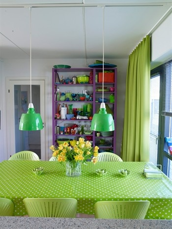 Green table and chairs, open shelving and ceiling lamps