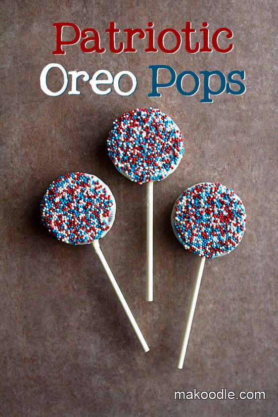 patriotic oreo pops...for an easier version, i'd just melt white almond bark or white chocolate chips and then dip them in sprinkles...no need to use sticks, just make patriotic cookies