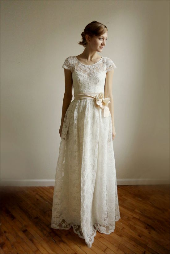 Oh-so-pretty!  Lace and cotton wedding dress #wedding #dress #bride #white #lace