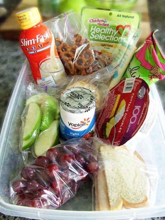 """100 calorie snacks - prep and gather about 12 snacks for your day, eat only whats in your """"goodie box""""."""