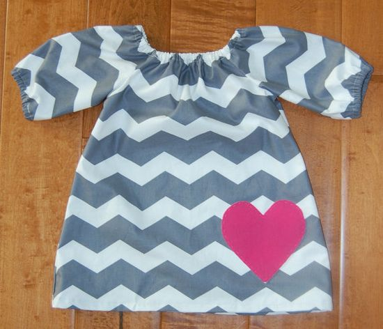 Girl Chevron Pink Heart Peasant Dress  by theruffleproject on Etsy, $42.00