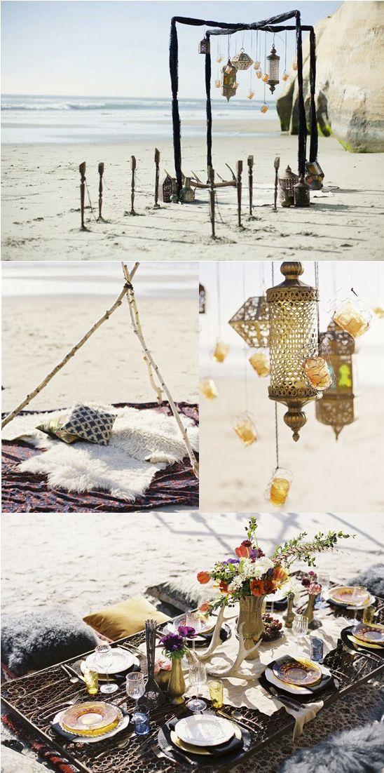 Bohemian beach wedding... love the lanterns