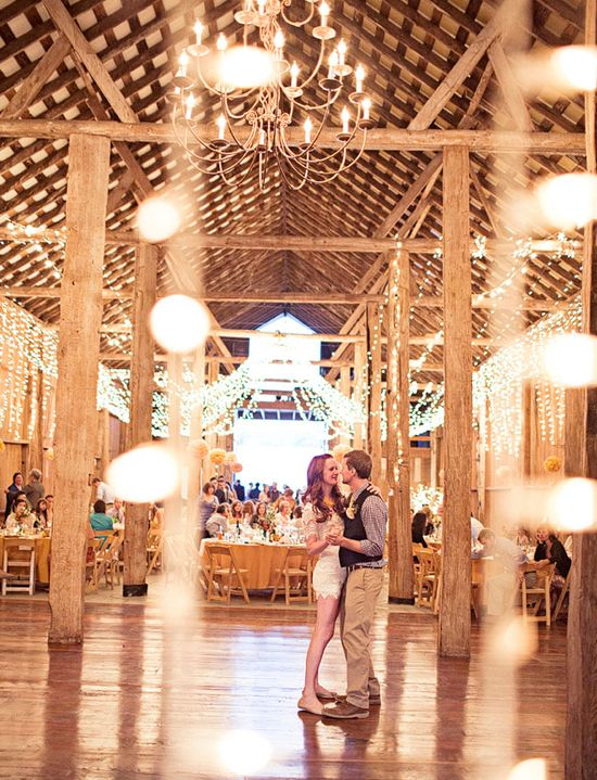 in a barn with lights ?