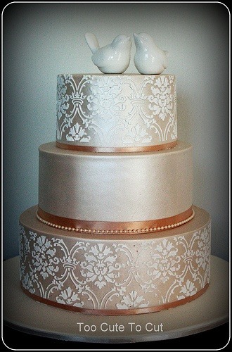 Nicole  Shimmer and stenciled wedding cake  www.facebook.com/...