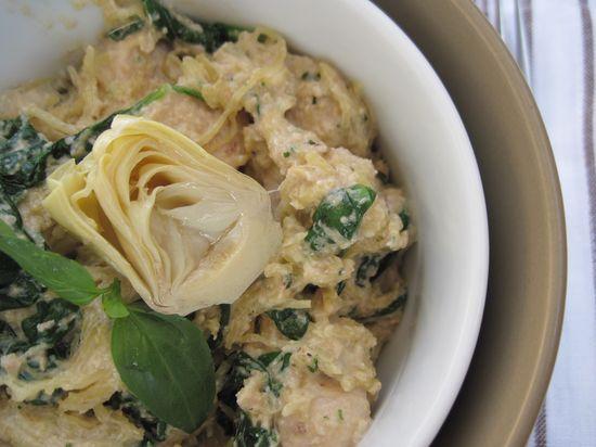 Artichoke lemon pesto chicken pasta.