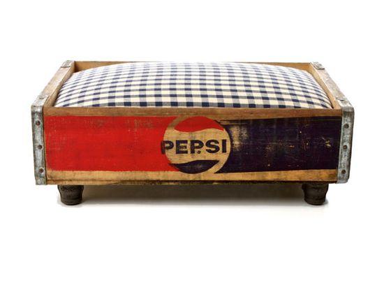 Pepsi Cola Luxury Vintage Pet Bed Recycled by CharlieHeartsDiesel, $200.00