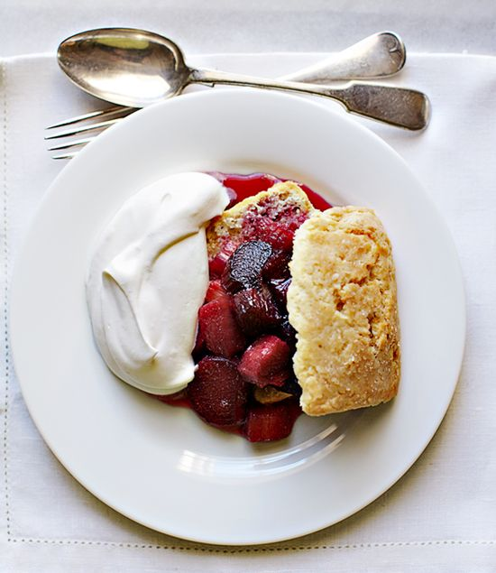 shortcakes with wine-roasted rhubarb