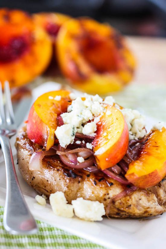 Pork Chops with Grilled Nectarines, Caramelized Onions and Gorgonzola Cheese