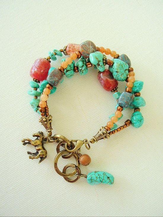 Boho Bracelet Turquoise Jewelry Southwest Jewelry by