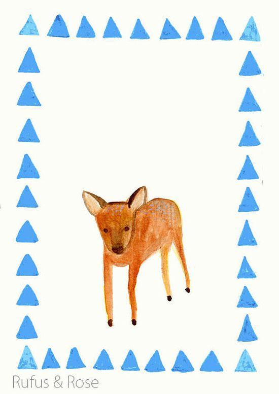 Hello Deer  postcard illustration