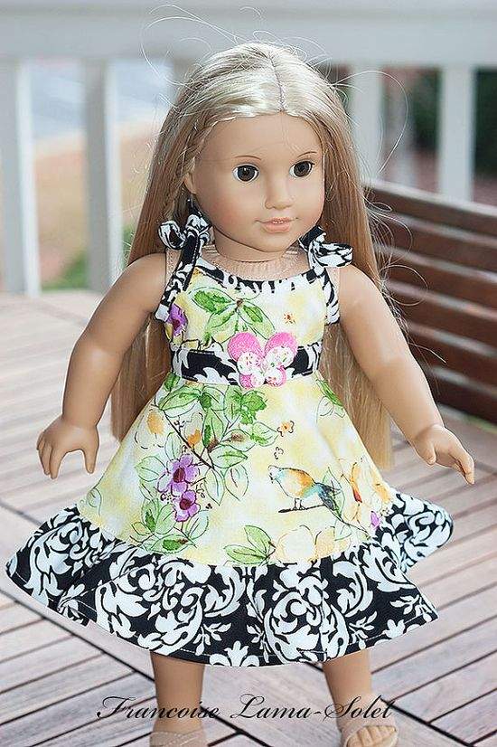 """Watercolor Yellow 18"""" doll dress and belt for American Girl doll style"""