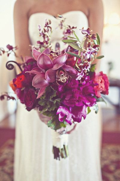 gorgeous Orchid bouquet.  Look t all of the purple ideas!  All of the purple flowers!  I think its time to decide on purple.