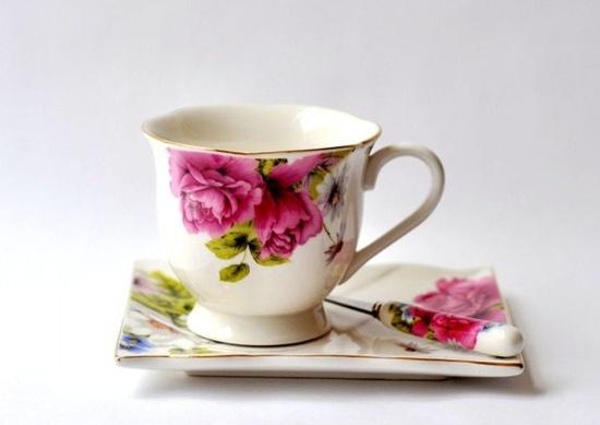 beautiful flower teacup