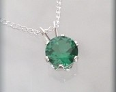 May Birthstone Necklace Emerald Necklace Sterling Silver (SP921)  BonnyJewelry  $22.00 USD