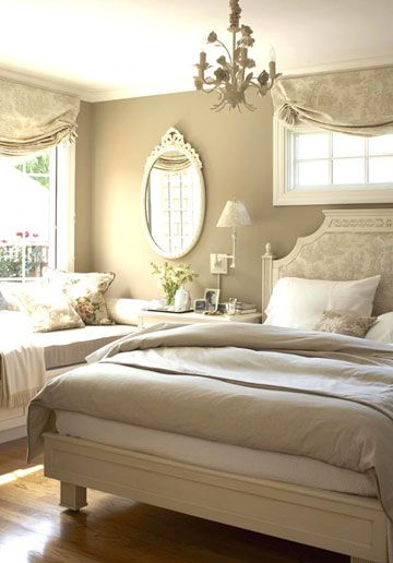 I think is just so beautiful. Maybe a little too white, but still    Soft, romantic bedroom design from Better Homes & Gardens