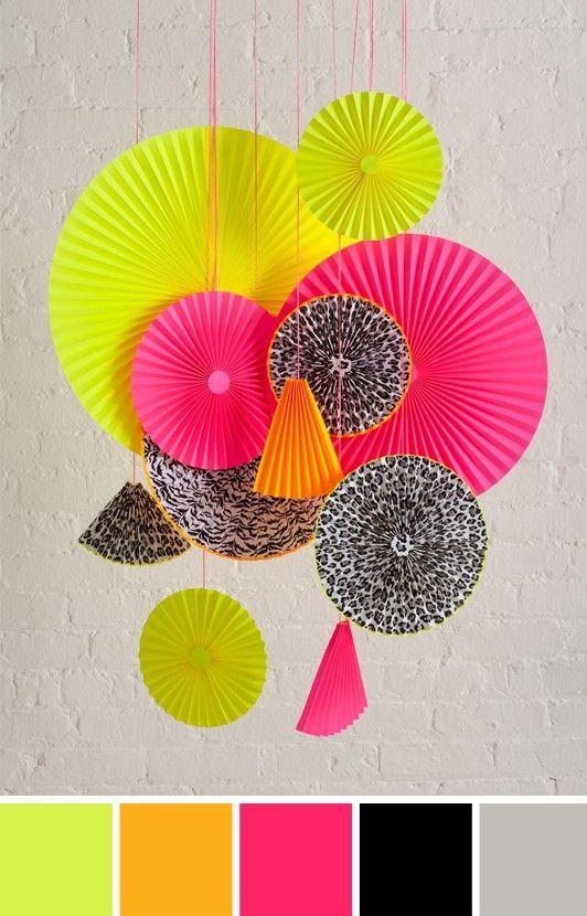 neon decorations...paper fan circles.