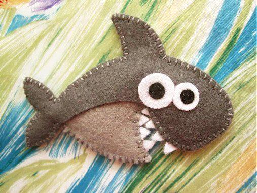 Piper the shark  cute felt brooch animal brooch by mirkajakabova, €9.00