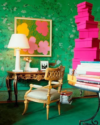 hot pink and green