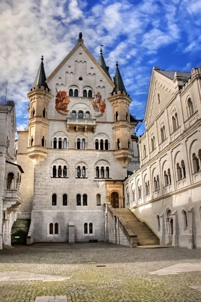 New Wonderful Photos: Neuschwanstein Castle Courtyard, Bavaria, Germany
