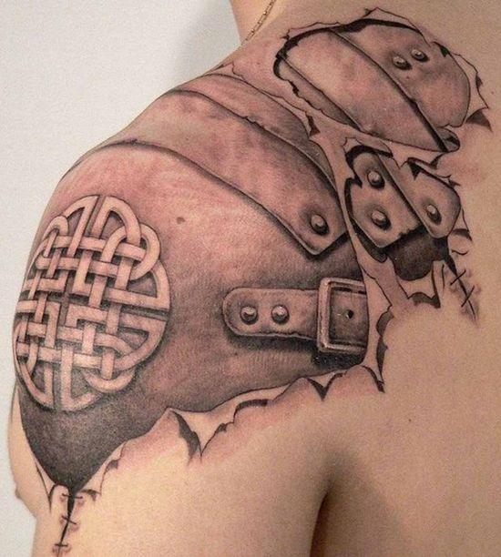 3D shoulder tattoo