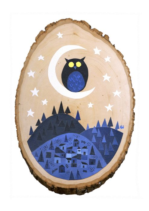 blue owl and village scene painted on a slice of tree. (: