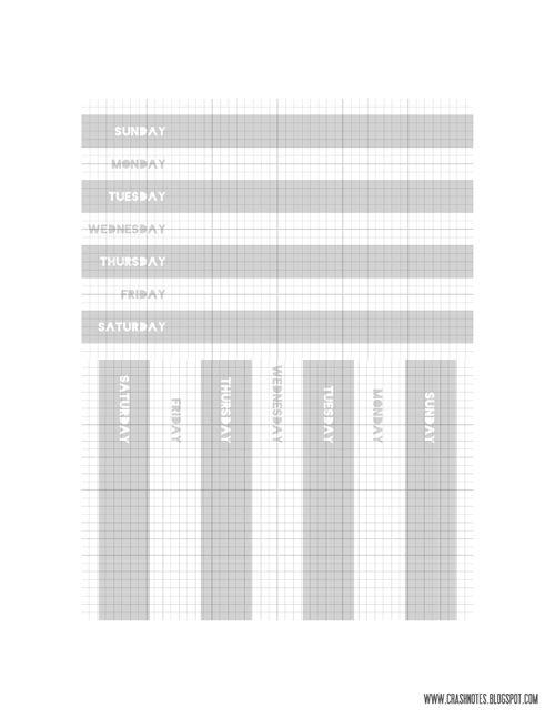 Basic sunday:saturday 4x6 journaling card -- free printable from Erica at crashnotes #ProjectLife