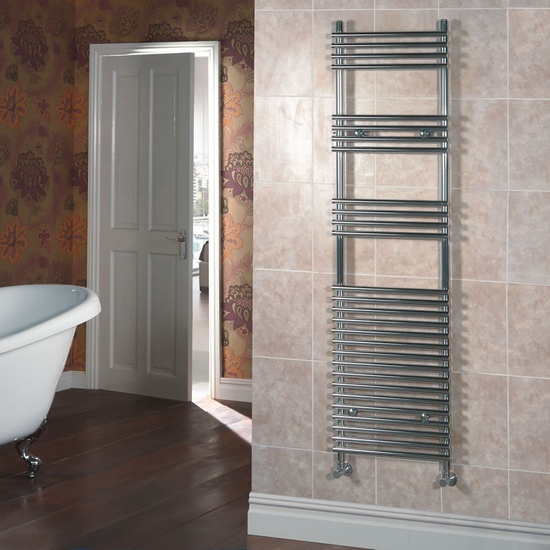 Get a step closer to bathroom luxury with this bar on bar heated towel rail.
