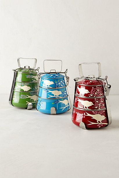 Handpainted Tiffin Carrier #anthropologie - NA