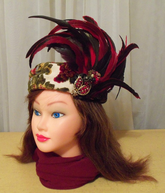 Royal Red Couture Hat, Amazing Facinator, Feathered vintage headpiece, OOAK Fall Accessory by Marelle Couture.
