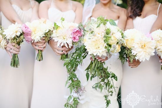 Romantic wedding bouquets by Reverie, Merion Tribute House
